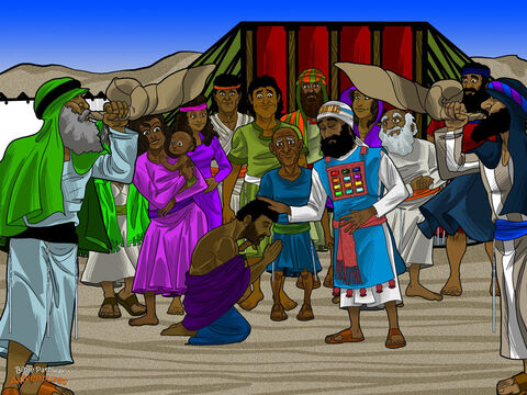 "Nathan wasted no time. He put Solomon on a donkey and took him to Gihon Spring. There, Solomon knelt down before the people. The high priest took a horn of olive oil and poured it over Solomon's head. ""You are now the next king of Israel,"" he said.  <br/>The Israelites clapped and cheered, and the shofars blared. ""Long live King Solomon! Long live the king!"" they sang. They followed Solomon into the city, playing their instruments and shouting for joy. <br/>The news about Solomon spread quickly across Jerusalem. In no time, it had reached the ears of Adonijah's friends. Their faces turned pale and their knees knocked with fear. They had cheered for the wrong king! Adonijah was scared, too. Solomon might kill him for what he had done. But he had nothing to worry about. Solomon had mercy on him and let him live. – Slide 2"