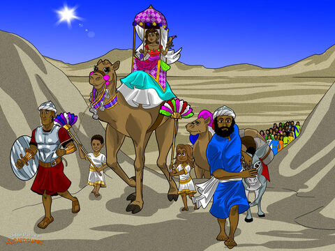 "Far away from the land of Israel, there lived a queen who ruled the kingdom of Sheba. She had heard all about Solomon's wisdom and his friendship with God. The queen made up her mind to visit the king. ""Pack my camels,"" she said to her servants. ""I want to meet this king and hear his wisdom for myself."" <br/>The servants were quick to obey the queen's orders. They loaded a caravan of camels with gold, spices, and precious stones, and set out for Jerusalem. <br/>It was a long trip, a few thousand miles, through the desert. Every day, the sun beat down dusty and hot. At night when it became cold and dark, bright stars lit their way to Jerusalem. The queen had to be careful. Fearsome bandits waited in the darkness looking for caravans to rob. It was a long and dangerous journey. – Slide 11"