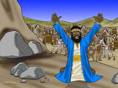 """Many years passed, and Samuel grew old and weak. When he died, all the Israelites gathered to bury him in his hometown of Ramah. Saul was sad, too. """"Who will help me rule the people of Israel?"""" he said. He feared it wouldn't be long before the Philistines attacked the Israelites again. <br/>Saul did not have to wait long. Once again the Philistines appeared in the distance, ready for battle. When Saul saw the huge Philistine army, his heart trembled with fear. There were even more soldiers and chariots than before. <br/>'What am I going to do?' cried Saul. He needed God's help fast! He tried to talk to God, but God did not answer him – not by dreams, nor prophets, nor the High Priest. All he heard was silence. – Slide 5"""