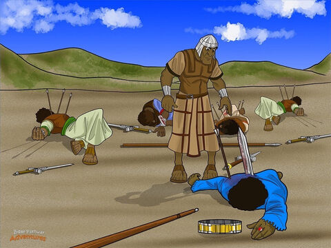 As Saul and his armour bearer scrambled up a steep cliff, a Philistine soldier shot him with his arrows. The king crashed to the ground with a mighty thud. THOOMP! <br/>Saul lay on his back and stared up at the sky. He knew the Israelites were no match for the mighty Philistines. Turning to his armour bearer, he said, 'Kill me with your sword. If the Philistines capture me, they will torture me until I'm dead.' The armour bearer shook his head. 'No,' he said. 'I dare not kill the king of Israel.' Saul could not wait any longer. Taking his own sword, he threw himself upon it. <br/>When his armour bearer saw that Saul was dead, he did the same thing and died with him. And so it happened that Saul and his three sons died that day, just as Samuel had said. – Slide 13