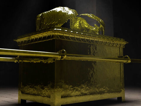 The Ark was carried approximately 2,000 cubits (2,600 feet, 800 meters) in advance of the people when on the march or before the Israelite army. When carried, the Ark was always hidden under a large veil made of skins and blue cloth, always carefully concealed, even from the eyes of the priests and the Levites who carried it. – Slide 5