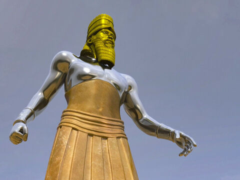 'No wise man, enchanter, magician or diviner can explain this mystery,' Daniel said, 'but there is a God in heaven who has shown King Nebuchadnezzar what will happen in the future. In your dream, there before you stood an enormous, dazzling statue, awesome in appearance. – Slide 3