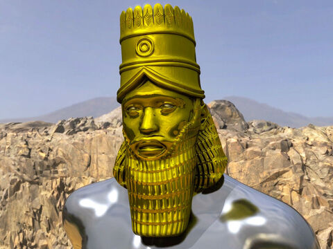 'The head of the statue was made of pure gold.' Daniel explained this represented the powerful kingdom of King Nebuchadnezzar and the Babylonian Empire (605BC – 539BC). – Slide 4