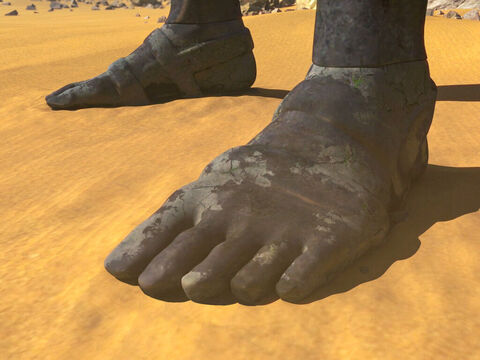 The feet of the statue were partly made of iron and partly of baked clay. This kingdom will be partly strong and partly brittle. Its people will be a mixture and will not remain united, any more than iron mixes with clay. (Christians differ in their interpretation of this kingdom but many believe it is yet to come and link it to the final kingdom of the anti- Christ - Revelation 17:12-14). – Slide 8