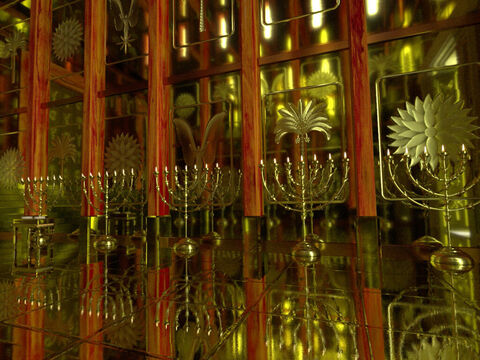 In the tabernacle there had been one 7 branched candle stick known as a 'menorah'. In Solomon's Temple there were 5 on each side of the Holy Place, making 10 in total. – Slide 7