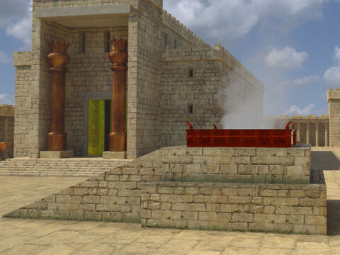 The altar was built on the site of the threshing floor that David had purchased from Araunah (2 Samuel 2:18-25). This altar in the courtyard was used for the many animal sacrifices that were brought to the Temple. – Slide 12