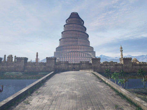 These pictures are artistic representations of the Tower of Babel created in 3D software. We do not know what it looked like but we know a later ziggurat built in Babylon to pagan god Marduk was 91m (299ft) high set on a base 91x91m (299x299ft) and is believed to have had 7 tiers. – Slide 4