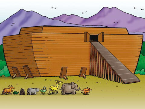 God warned Noah that He was going to send a lot of rain to the earth, so much rain that a great flood would come. God told Noah to build an ark where all the people that believed in God would be safe and secure from the dangers of the flood. Noah obeyed God. – Slide 2