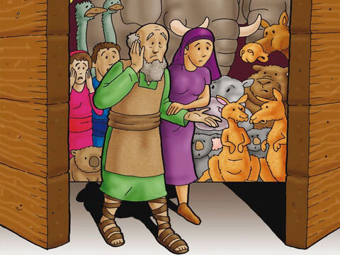 Finally, God told Noah and his family to climb inside the ark. They obeyed God. He also told two of every kind of animal to climb into the ark with Noah. The animals also obeyed God. When Noah and his family were safe in the ark God reached down and closed the door very tight! – Slide 4