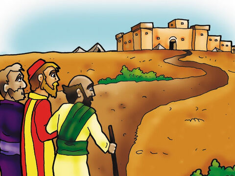 Paul got up. He could not see, but his heart suddenly understood something very wonderful - Jesus Christ was alive! Paul now believed that Jesus Christ was the Son of God and the Saviour of the world. Paul became a Christian! Paul's companions led him into Damascus. – Slide 3