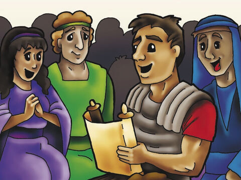 Those in the new church at Philippi read Paul's letter to them. His letter is found in the Bible – the book of Philippians – so you can read how Paul encouraged these Christians to live for Jesus. – Slide 7