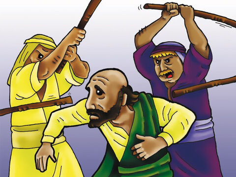 Three times Paul was beaten with rods and five times he was whipped with 39 lashes! This is how he suffered for the sake of the gospel. – Slide 5