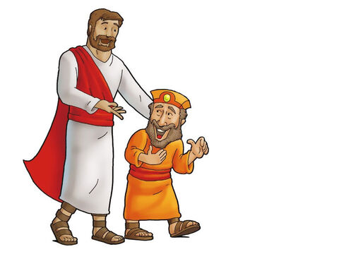 Now no one in Jericho wanted to stay at Zacchaeus' house. No one in all of Jericho liked Zacchaeus. But Jesus loved Zaccheus because Jesus loves all people, even when they have done bad things. – Slide 6