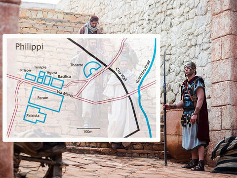 Philippi was a thriving Roman colony with a busy market and amphitheatre. Just outside the city was a river where believers in God met to pray. Paul taught the women meeting there about the Lord Jesus Christ. One of them, Lydia, had become a Christian and been baptised. – Slide 2