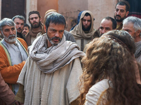 One day Paul became distressed as the slave girl shouted at him. He turned around and addressed the evil spirit controlling her. – Slide 12