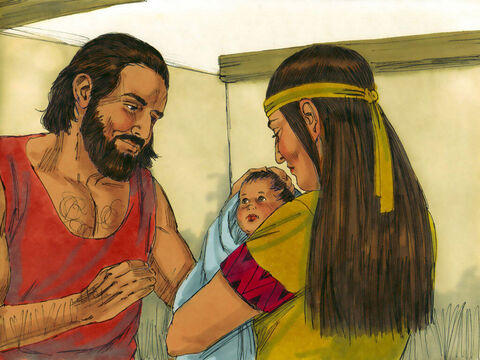 Exodus 1 v 1 When a Hebrew man and wife from the tribe of Levi had a baby boy they hid him away from the Egyptians for three months. – Slide 13