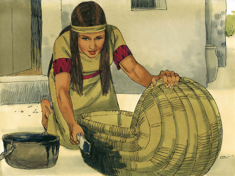 Exodus 1 v 3 So his mother came up with an idea to keep her baby out of sight. She got a basket made from papyrus leaves and covered it in tar and pitch to make it waterproof. – Slide 15
