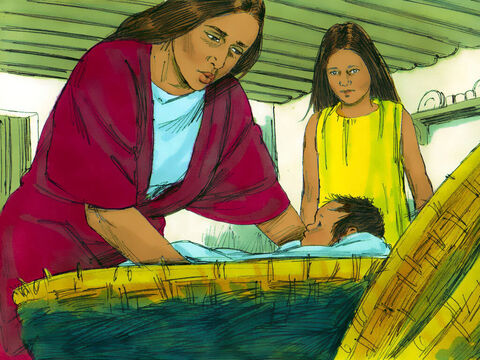 She put the baby in the basket and carried it down to the River Nile. Her young daughter Miriam helped her. – Slide 16