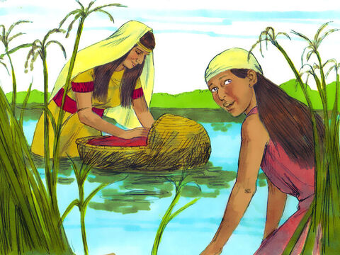 Exodus 1 v 4 She hid the basket in tall bulrushes by the side of the river. Miriam kept watch over the baby from a distance. – Slide 17