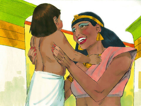 She named him Moses, (an Egyptian word meaning 'drawn out'). 'I drew him out of the water,' she told everyone. – Slide 23