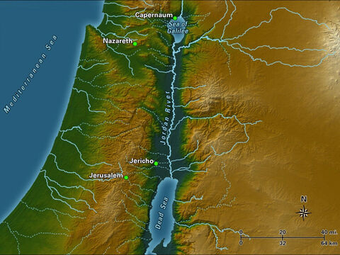 The Jordan River is fed by headwaters that start near the base of Mount Hermon, on what is now the Syria-Lebanon border. After descending into the Sea of Galilee, it continues south to the Dead Sea. The river winds through 124 miles of the Rift Valley, which is an average of 6 miles wide and mostly dry apart from the river. – Slide 1