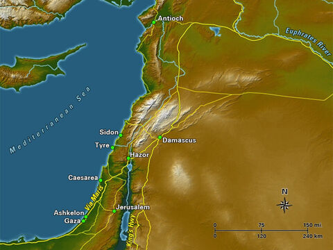 There were two major arteries for international trade that traversed the land. The coastal highway, or Via Maris, followed along the coast of the Mediterranean and cut through the Jezreel Valley and along the shore of the Sea of Galilee, before heading north into Damascus. The other major route, the King's Highway, was located to the east along the high fertile plain beyond the Dead Sea and the Jordan River. The two routes converged on Damascus, where the route splits toward Antioch to the north, and towards Mesopotamia to the east. – Slide 3