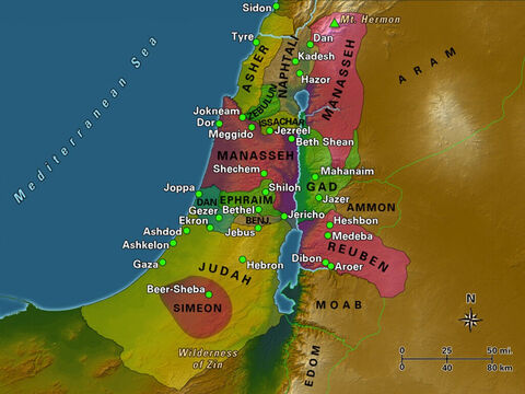 The shaded areas in this map represent the 12 tribal territories. Levi did not receive land and the territory of Joseph was divided between his two sons. The cities included in the map are mentioned in the Bible as important during the pre-monarchic period, and many of them were used to define boundaries between tribes. – Slide 4
