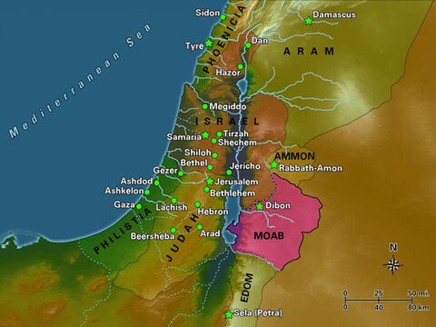 The area shaded in pink is Moab. A flat and arid plain extends east from the banks of the Dead Sea before ascending sharply some 4,000 feet, to the plain above. The upper plain is a more fertile stretch of land that extends about 15 miles from the escarpment east to the Arabian Desert. Dibon, the capital city of Moab in the biblical era, is located in the northern region of the upper plain. – Slide 6