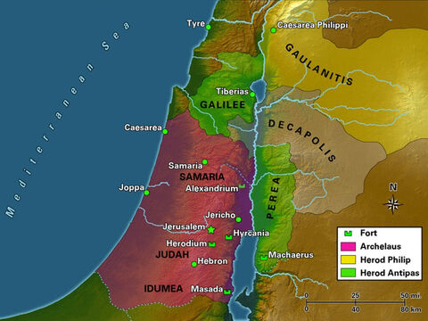 Upon his death in 4 B.C.E., the kingdom of Herod the Great was divided among three of his surviving sons. Antipas was given the region to the east of the Jordan known as Perea, along with Galilee. Philip was given the region to the northeast of the Sea of Galilee, known as Gaulanitis. Archelaus was given the regions of Idumea, Samaria, and Judah but his tumultuous rule would last only two years, until the Romans deposed him and transformed his territory into a Roman province known as Judea. – Slide 7