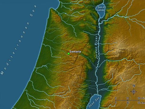 Samaria was the capital of the nothern kingdom of Israel, built by King Omri in the ninth century B.C. The city was situated atop a hill rising some 300 feet above the surrounding valleys below. – Slide 10