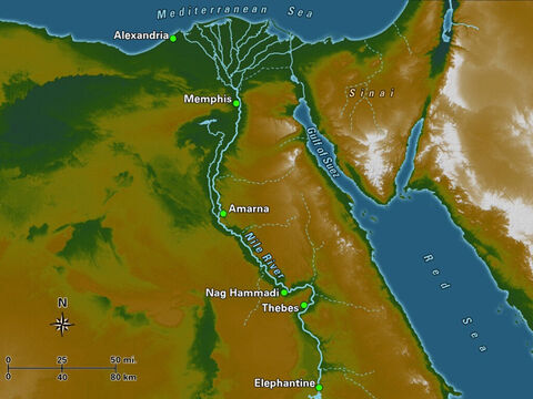This map highlights many of the important locations in Egypt during biblical times. Memphis (located south of modern-day Cairo) was the capital of the Egyptian Old Kingdom and was succeeded by Thebes in later times. – Slide 13