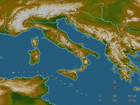 Rome is located near the Mediterranean coast on the western side of central Italy, along the Tiber River. The site was inhabited as early as 753 B.C. and became the capital of the Roman Empire in the latter part of the first century B.C. One of the Pauline Epistles is addressed to the Christian church at Rome and the record of Paul's missionary activities ends with Paul under house arrest in Rome. – Slide 17