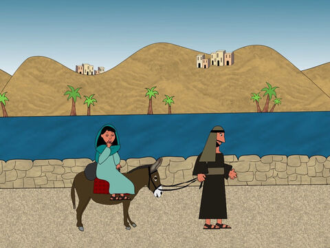It took Joseph and Mary quite a few days to reach the city of Bethlehem. – Slide 6