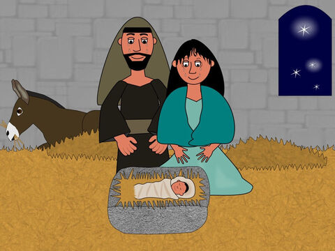 But then just as they were getting very worried, the Innkeeper told them they could shelter in the place by the inn where the animals lived. That night baby Jesus was born and Mary wrapped Him in warm cloths and put Him in a manger. Mary and Joseph cried with happiness because this baby was God's gift of love to them and to the world. – Slide 10