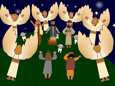 Nearby on a hill another exciting thing was happening. An angel was telling a group of shepherds that the Saviour Jesus Christ was born in Bethlehem and to go and see Him. After the angel finished speaking, the sky was filled with lots and lots of beautiful angels all praising God. – Slide 11