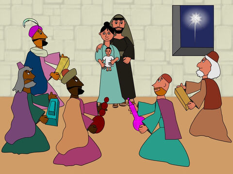 The wisemen followed the star day and night until at last it came to the place where Mary and Joseph and Jesus lived. Then they gave Jesus some gifts of gold, frankincense and myrrh and they worshipped Him. – Slide 14