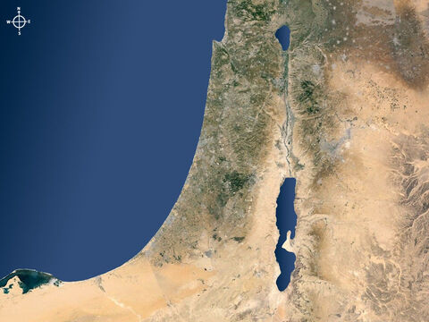 Satellite map of Israel and surrounding regions showing Jordan rift valley with Lake Galilee to north and the Dead Sea to the south. – Slide 1