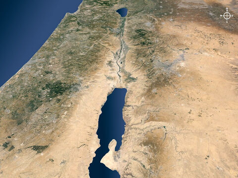 The Jordan valley viewed from the Dead Sea. – Slide 2