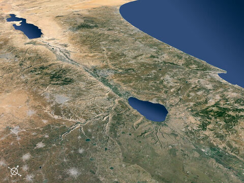 Ariel view of Israel and surrounding regions from the north-east looking south-west. – Slide 6