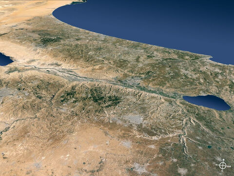 Regions to the east of the Jordan valley viewed from the north-east and out to the Mediterranean Sea. – Slide 7