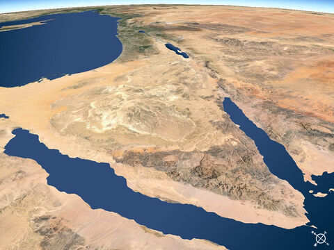 Sinai peninsular viewed from the south-west. Gulf of Suez to west and Gulf of Aqaba to east flowing into Red Sea. – Slide 11