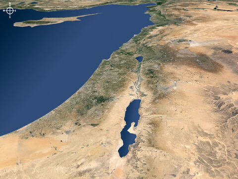 Ariel view of Israel and regions to the north viewed from the south. – Slide 12
