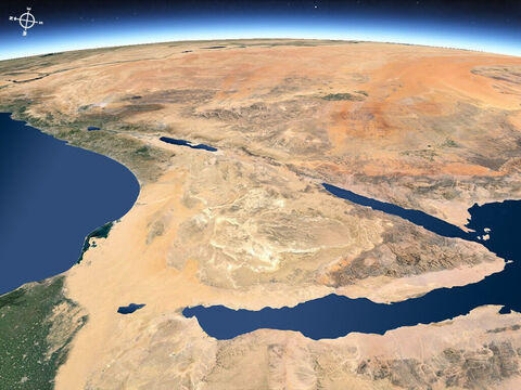 Ariel view of the middle east from the south-west with Sinai peninsular in foreground. – Slide 15