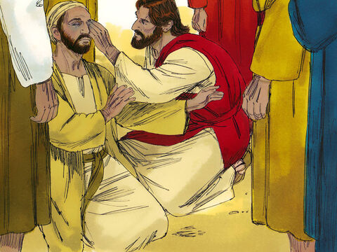 'I am here to do what God wants,' Jesus continued. 'I am the light of the world.' Then, Jesus spat on the ground, made some mud with the saliva, and put it on the man's eyes. 'Go,' Jesus told him, 'wash in the Pool of Siloam.' The man felt his way through the narrow streets to the pool. – Slide 2