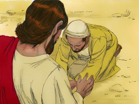 'Lord, I believe,' the man said and worshiped Jesus. – Slide 10