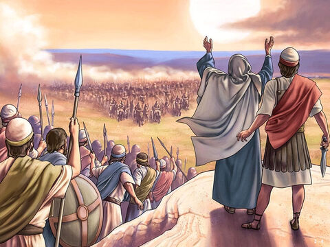 Barak, Deborah and 10,000 men gathered on Mount Tabor. General Sisera gathered 30,000 well armed men with 900 chariots in the Kishon river valley below them. <br/>Although outnumbered, Deborah declared, 'Go! This is the day the Lord has given Sisera into your hands. Has not the Lord gone ahead of you?' <br/>Barak led his 10,000 men into an attack. – Slide 4