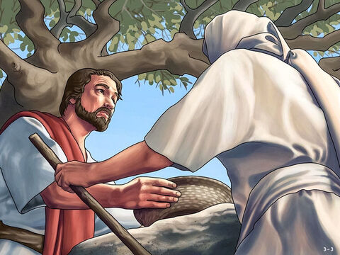 'I will be with you, and you will strike down all the Midianites, leaving none alive,' the Lord answered. Gideon was still unsure so he asked for a sign. He went and cooked a young goat in soup and made bread without yeast for an offering. <br/>The angel told him to put the meat and bread on a rock and then poured the soup over it. The angel then touched the offering with the tip of his staff and it burst into flames. Gideon was frightened but the angel told him he would not die. <br/>Gideon built an altar to the Lord there and called it 'The Lord Is Peace'. – Slide 3