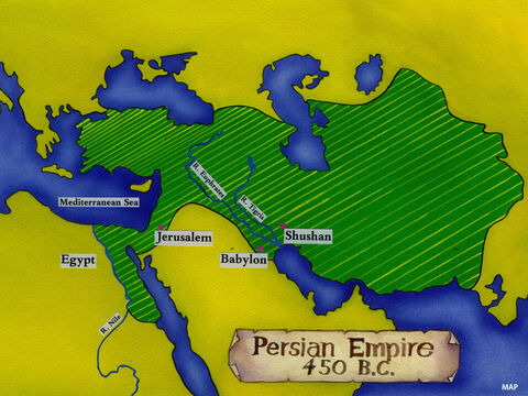 When the people of Israel turned away from the living God to worship idols, they were taken captive by the Babylonians. However, far away from their native land the hearts of many were changed and they asked God to forgive them. The Babylonians were then defeated by the Persians and the King of Persia gave an order allowing the Jews to return home and rebuild the Temple in Jerusalem. One of the men born in Persia was called Nehemiah. He worked in the city of Shushan in the palace of the King of Persia. – Slide 1