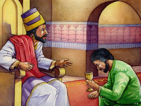 Nehemiah kept praying for four months. Then one day, in the month of April, he was serving the king and feeling very sad. <br/>King Artaxerxes asked, 'Why does your face look so sad when you are not ill?' <br/>Nehemiah was frightened because he knew the King had already given a command to stop all work on rebuilding the walls of Jerusalem. <br/>However, he replied, 'Why should I not be sad when my home city is in ruins and its gates burnt down?' God was answering Nehemiah's prayer and when the King asked what he wanted, he replied, 'If it pleases the King, let him send me to Jerusalem to rebuild its walls.'  <br/>The King asked Nehemiah how long he would need to do this building work and then gave him permission to go. – Slide 5