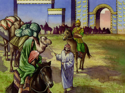 Now that the King had given permission for Nehemiah to go and rebuild the walls of Jerusalem, a long journey of over 700 miles (1000 km) lay ahead. <br/>The King was sending some of his soldiers and army officers on horseback to protect them and Nehemiah had royal letters to show the governors of the provinces on the route ahead allowing them to pass through. It was a journey that would take three months. – Slide 1